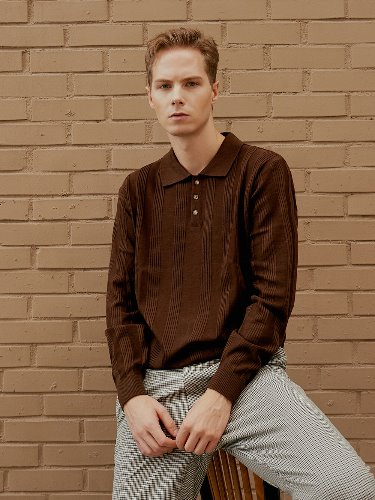textured polo knit (brown)