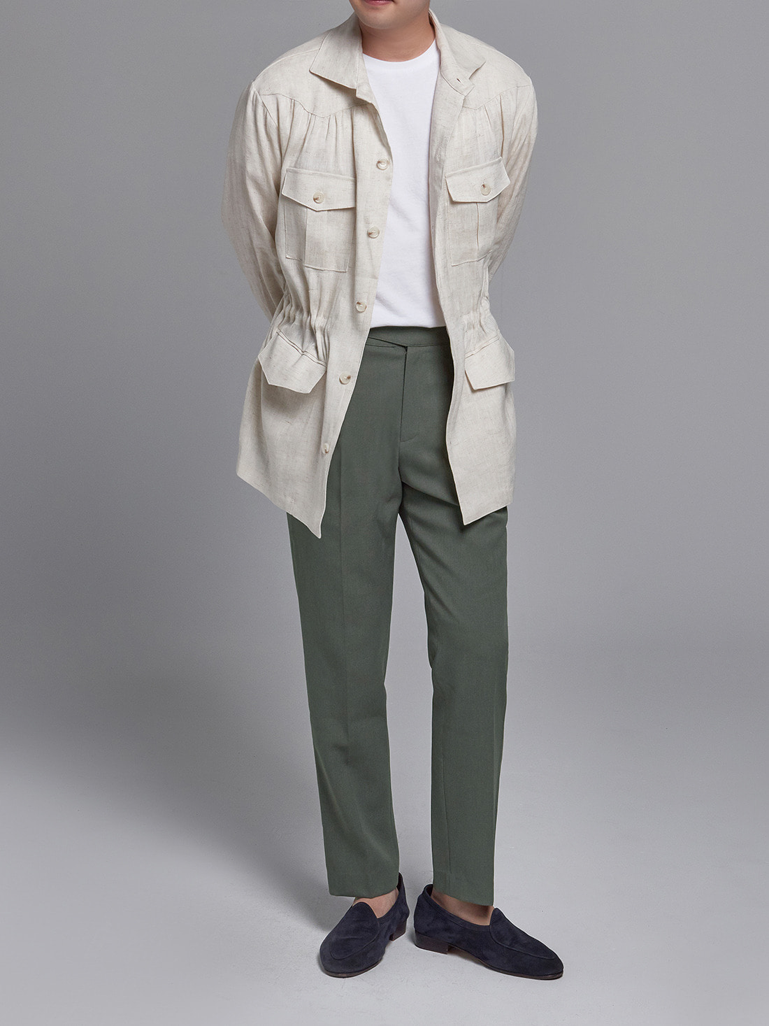 linen herringbone shirring jacket (light beige)