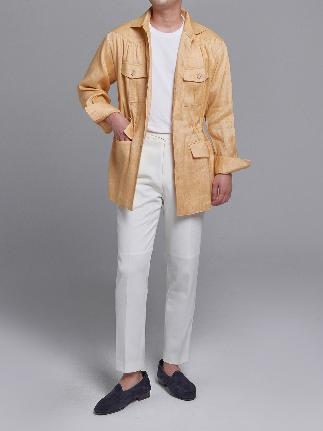 linen herringbone shirring jacket (yellow)