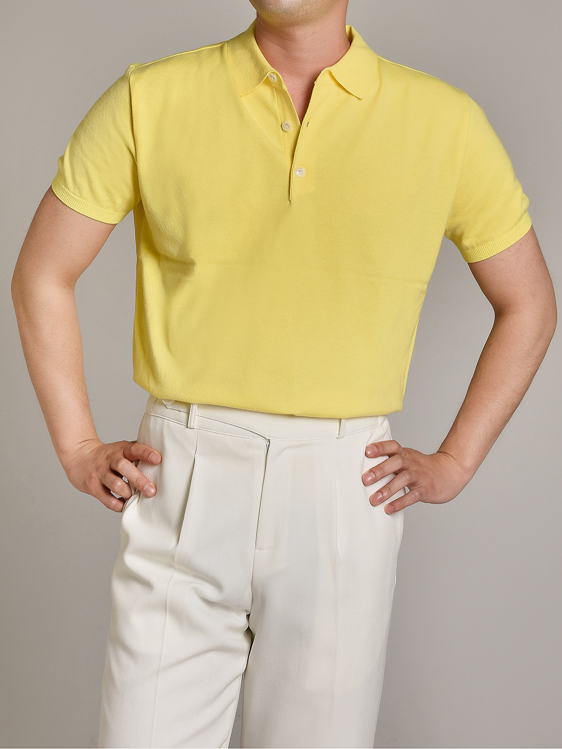 soft touch solid polo knit (yellow)
