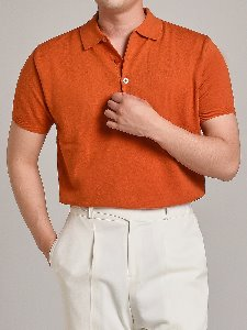 soft touch solid polo knit (orange)