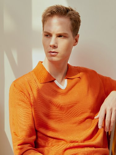 V neck polo knit (orange)