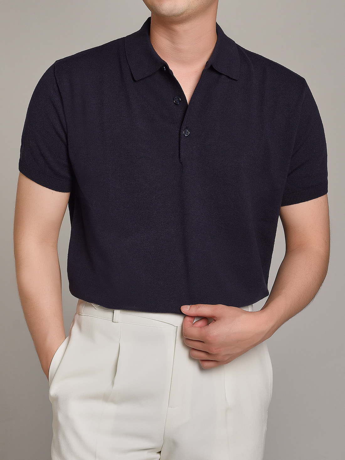 soft touch solid polo knit (navy)