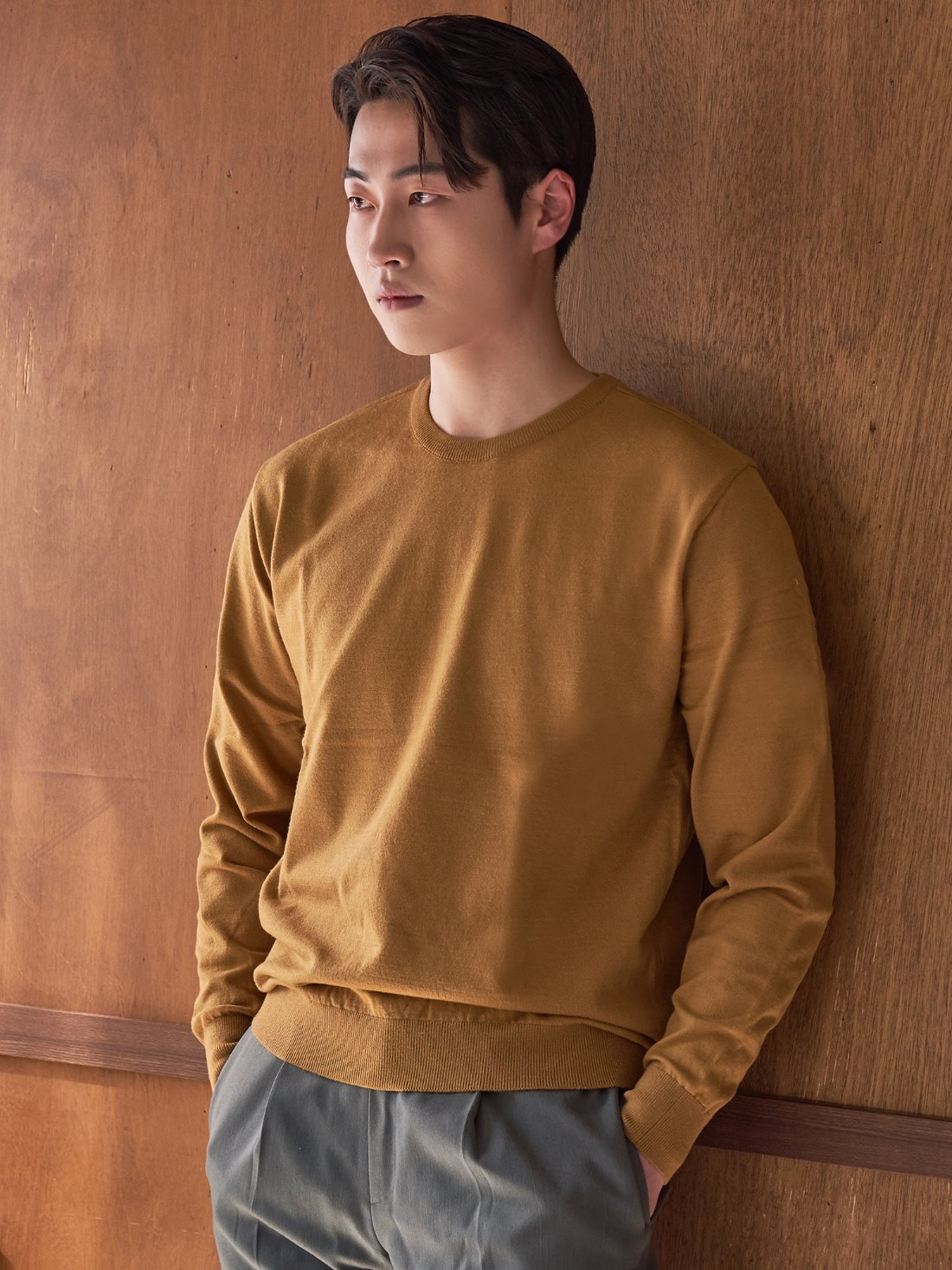 Soft touch solid crew neck knit (mustard)