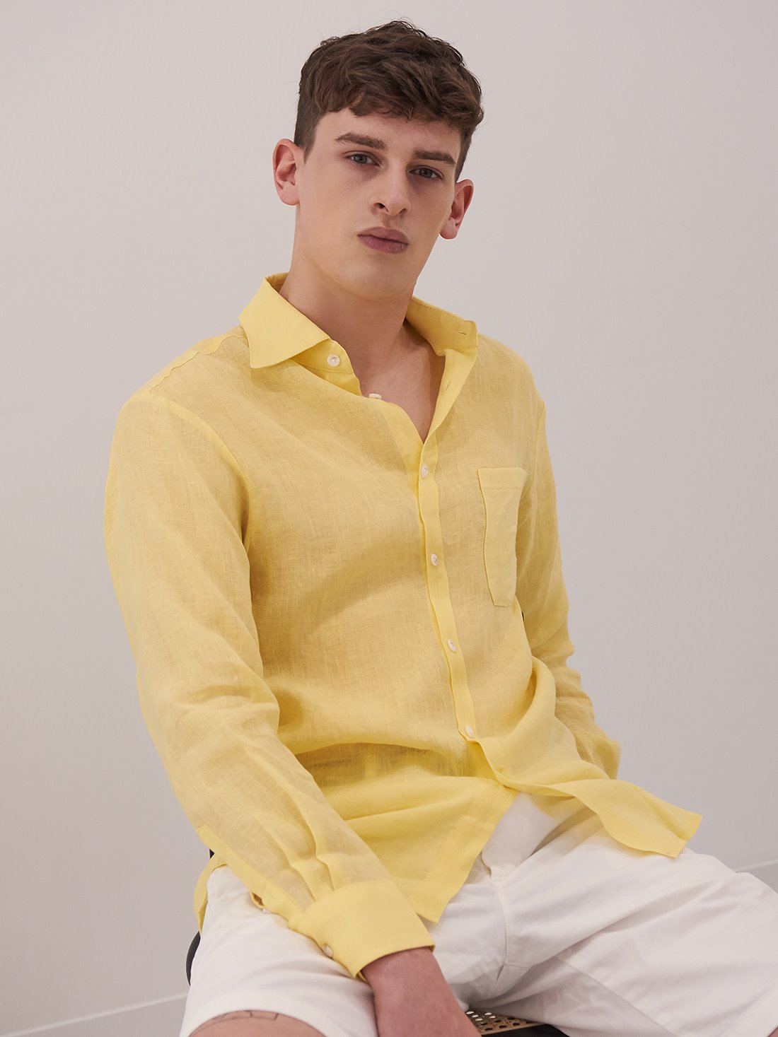 linen beach shirts (lemon)